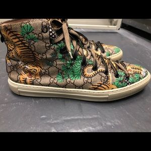 Authentic Gucci monogram tiger hightop sneakers
